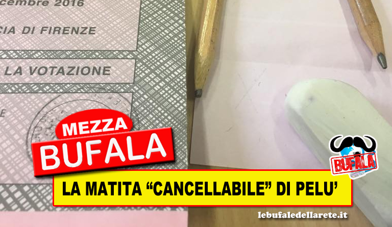 "MEZZA BUFALA: LA MATITA ""CANCELLABILE"" DI PIERO PELU'"