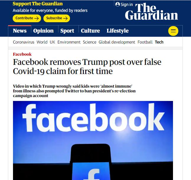 Facebook rimuove un post di Trump